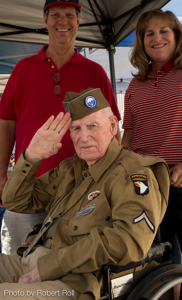 "Ed ""Doc"" Pepping of the 101st Airborne's Easy Company offers a crisp salute at the 2014 Wings Over Camarillo Air Show.  Pepping was awarded a Bronze Star for his actions as company medic for the storied ""Band of Brothers"" following the Normandy Invasion in 1944."