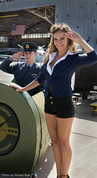 Christopher Miller and Cara Milham of Thousand Oaks capture the spirit of World War II aviation as the Aces Over Dover Flying Experience cranks up at Camarillo Airport.