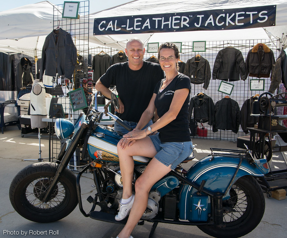 Ira and Gwen Cornell of Ventura take a break from showing their custom-designed leatherwear at the 2104 Wings Over Camarillo Air Show.