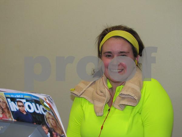 Samantha Richardson poses during her work out at Fort Dodge REC center.