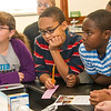 UAlbany's President Robert Jones, faculty, staff, and students visit a Hackett Middle School to emphasize the value of a college education.  Photographer: Mark Schmidt