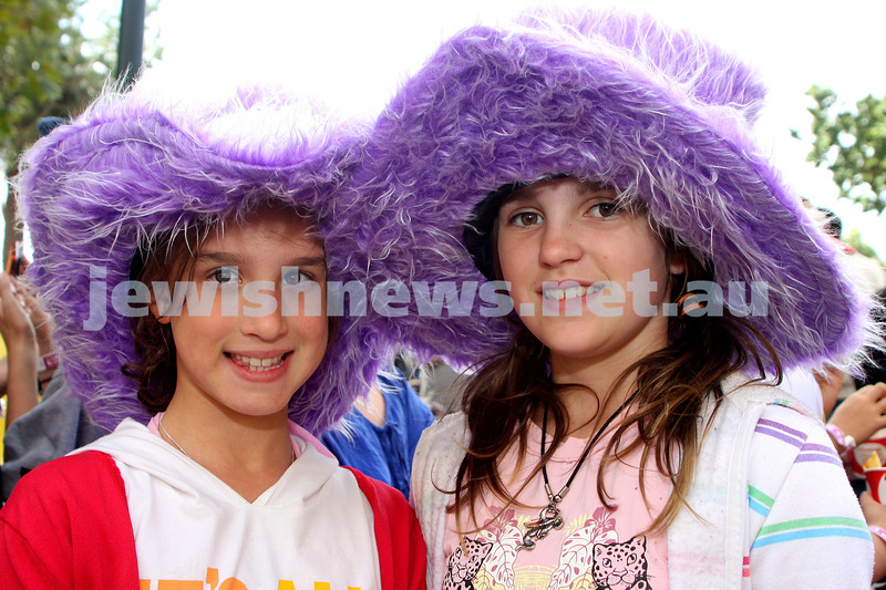 Purim 2010. Caulfield Racecourse. Lamdeni. Casey Taylor (left) and Emily Stringer. Photo: Peter Haskin