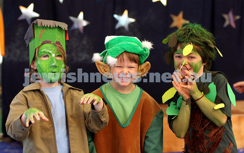 Purim 2010. The King David School. From left: Quincy Gross, Jacob Irons, Daniel Cohen. Photo: Peter Haskin