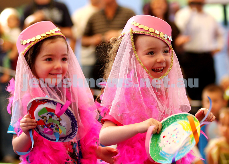 Purim 2010. The King David School. Rebecca (left) and Jacqueline Jeruzalski. Photo: Peter Haskin