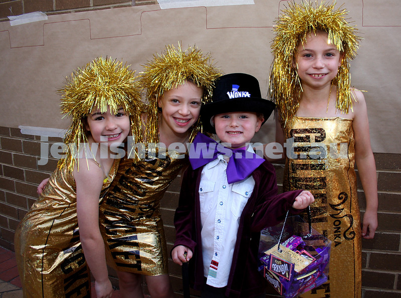 Purim 2010. Mt Scopus, Gandel Besen House. From left: Elli Hazan, Ella Fulop, Blake Shaw, Ella Steibel. Photo: Peter Haskin