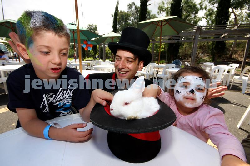 21/3/10. Jewish Care Family Fun Day at Bialik College. From left: Jack Davis, Luigi Zucchini, Mye Cohen. Photo: Peter Haskin