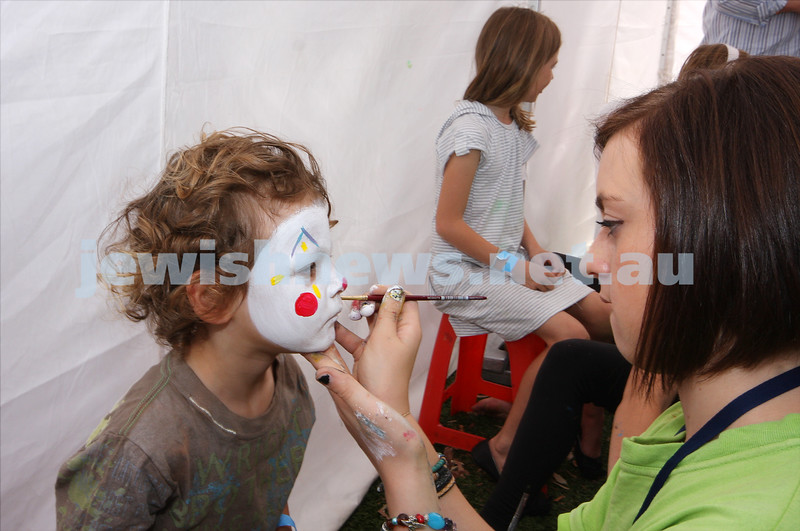 21/3/10. Jewish Care Family Fun Day at Bialik College. Guy Levy having his face painted. Photo: Peter Haskin