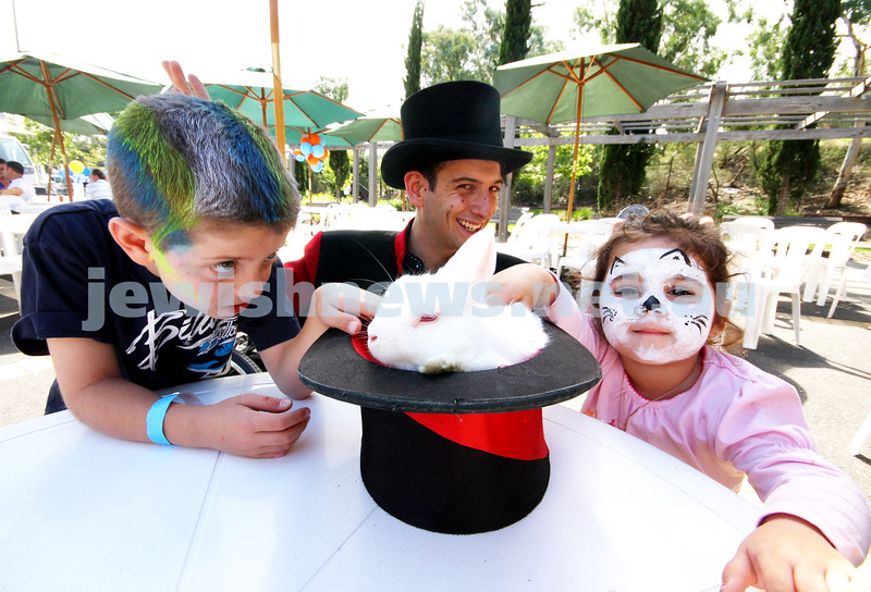 21/3/10. Jewish Care Family Fun Day at Bialik College. From left: Jack Davis, Luigi Zucchini, Mye Cohen. Photo: Peter Haskin