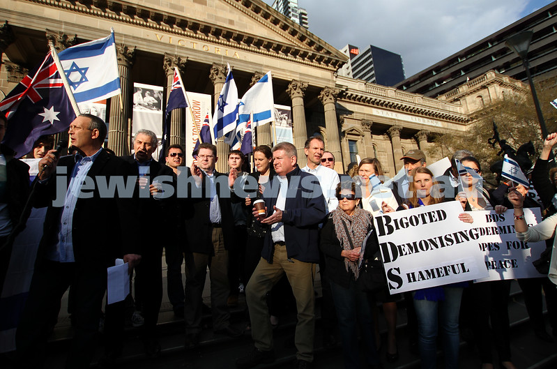 Say No to BDS 4-9-11. Anti BDS rally at the State Library . Organised by Victorian Young Liberals and the Australian Liberal Students' Federation.  John Searle, Chair of the Victorian Equal Opportunity and Human Rights Commission. Photo: Peter Haskin