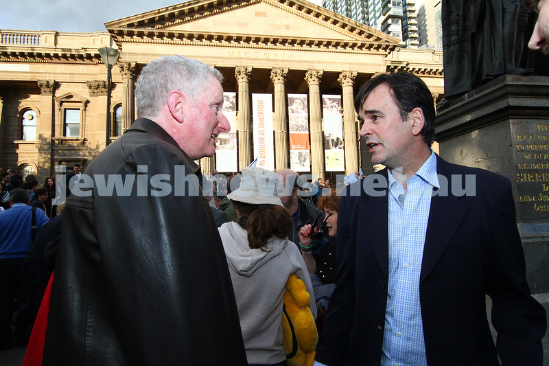 Say No to BDS 4-9-11. Anti BDS rally at the State Library . Organised by Victorian Young Liberals and the Australian Liberal Students' Federation.  Former Doug Anthony All Star, Tim Ferguson talking with Sam Leiblich. Photo: Peter Haskin