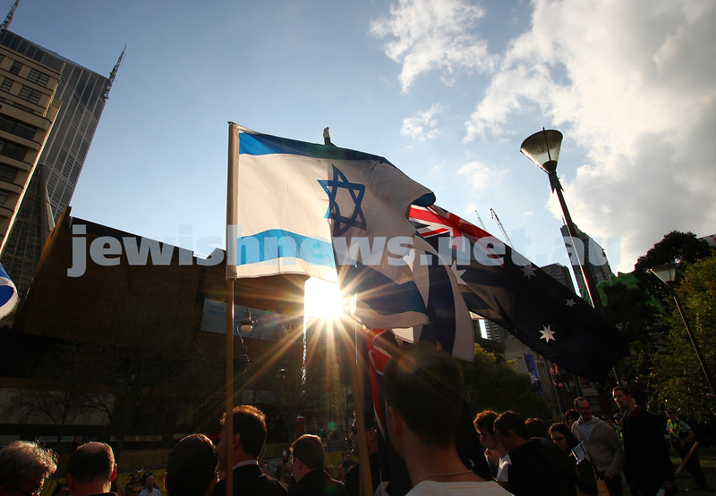 Say No to BDS 4-9-11. Anti BDS rally at the State Library . Organised by Victorian Young Liberals and the Australian Liberal Students' Federation.  Israeli and ASustralian flags flying together on the steps of the State Library. Photo: Peter Haskin