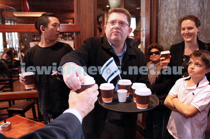 Say No to BDS 4-9-11. A hot chocolate at Max Brenner before the rally at the State Library. Photo: Lochlan Tangas.