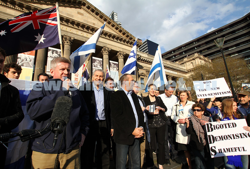 Say No to BDS 4-9-11. Anti BDS rally at the State Library . Organised by Victorian Young Liberals and the Australian Liberal Students' Federation.  Sen Mitch Fifield. Photo: Peter Haskin