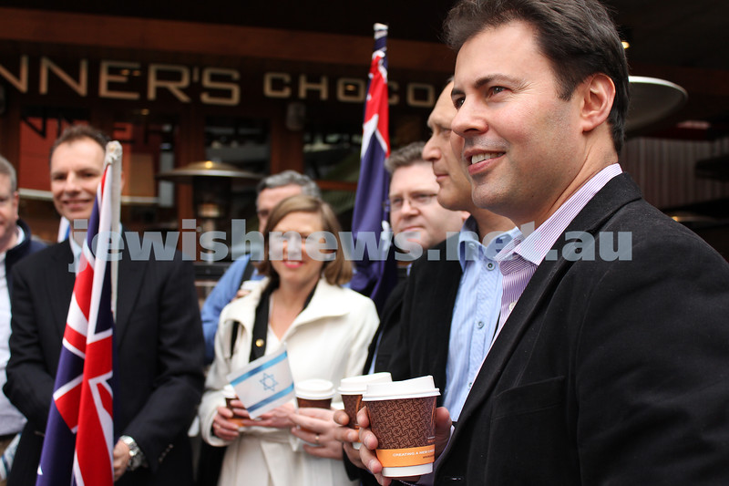 Say No to BDS 4-9-11. A hot chocolate at Max Brenner before the rally at the State Library Liberal MP, Josh Frydenberg. . Photo: Lochlan Tangas.