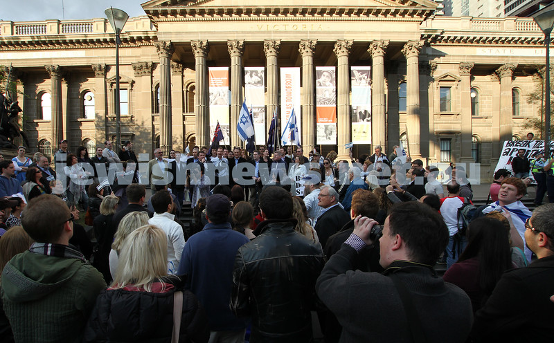 Say No to BDS 4-9-11. Anti BDS rally at the State Library . Organised by Victorian Young Liberals and the Australian Liberal Students' Federation.  Photo: Peter Haskin