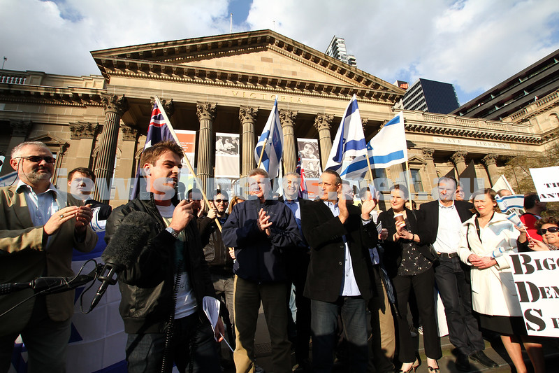 Say No to BDS 4-9-11. Anti BDS rally the State Library . Organised by Victorian Young Liberals and the Australian Liberal Students' Federation.  Gideon Rozner from the Young Liberals. Photo: Peter Haskin