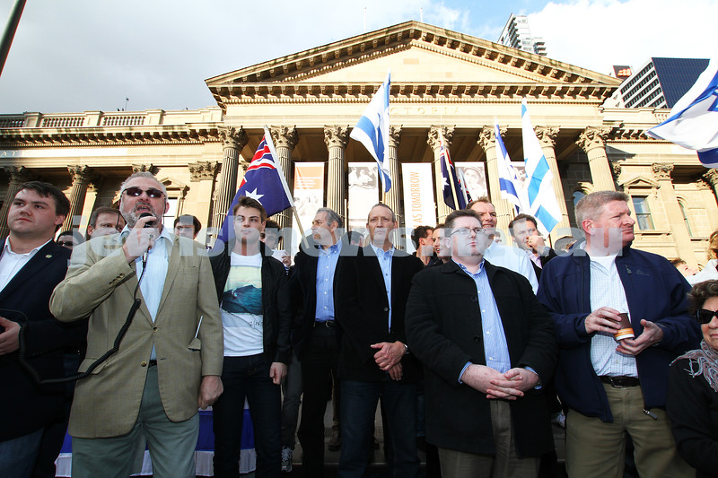 Say No to BDS 4-9-11. Anti BDS rally at the State Library . Organised by Victorian Young Liberals and the Australian Liberal Students' Federation.  President of Zionist Council of Victoria, Sam Tatarka adderesses the rally. Photo: Peter Haskin