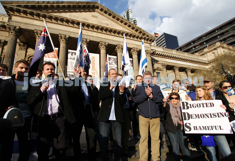 Say No to BDS 4-9-11. Anti BDS rally at the State Library . Organised by Victorian Young Liberals and the Australian Liberal Students' Federation.  Member for Kooyong,  Josh Frydenberg. Photo: Peter Haskin