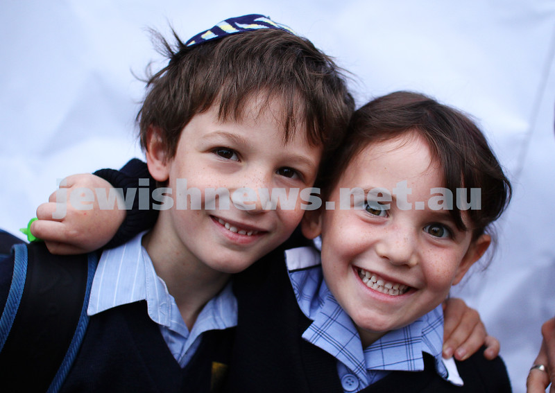 31-1-13. First day of school at Leibler Yavneh College. Sebastian and Anushka Starr. Photo: Peter Haskin