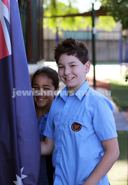 1-2-12. First day of school at Sholem Aleichem College. School captains, Libby Barzilay-Yosef, Gabriel Zafrin. Photo: Lochlan Tangas.