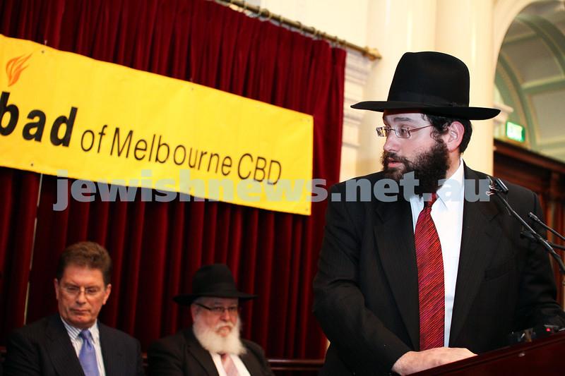 Chanukah at Queens Hall, Parliament House 2011. Rabbi Yisroel Sufrin. Photo: Peter Haskin