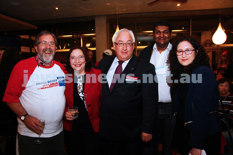 7-9-13. Election day 2013. Member for Melbourne Ports, Michael Danby with his supporters on election night while waiting for results. Photo: Peter Haskin