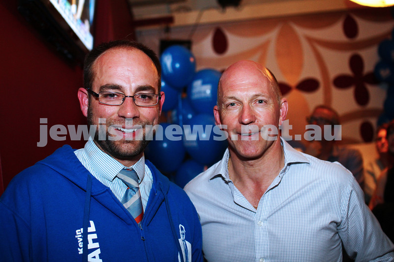 7-9-13. Election day 2013. Liberal candidate for Melbourne Ports, Kevin Ekendahl (left) talks with one of supporters on election night.  Photo: Peter Haskin