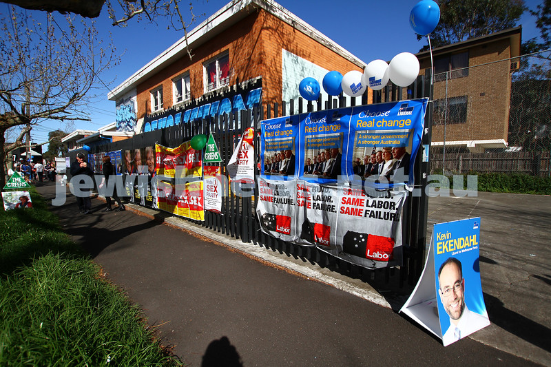 7-9-13. Election day 2013. Polling station at the Hashomer Hatzair Hall on Inkerman St. Photo: Peter Haskin