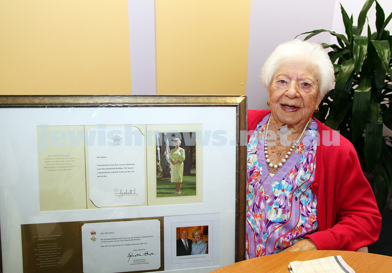 10-2-12. 100 year old Genia Simon shows the letters she has received from the Queen and the Govenor general of Australia. Photo: Peter Haskin