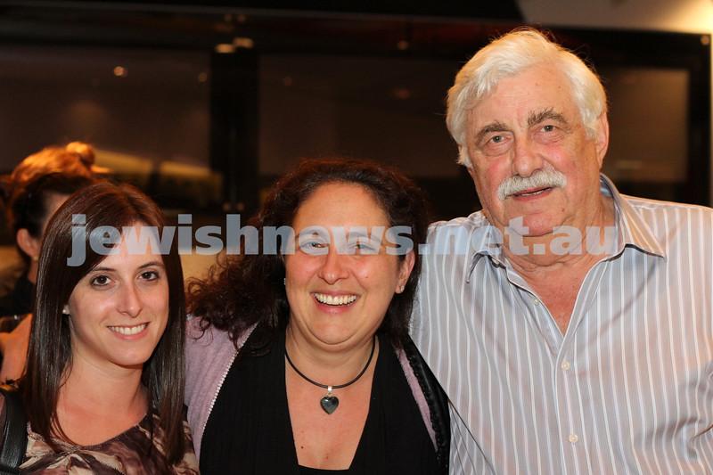 9-11-2011. Jewish Film Festival launch. Em Lewin, Leora Katranski, Swi Lewin. Photo: Lochlan Tangas