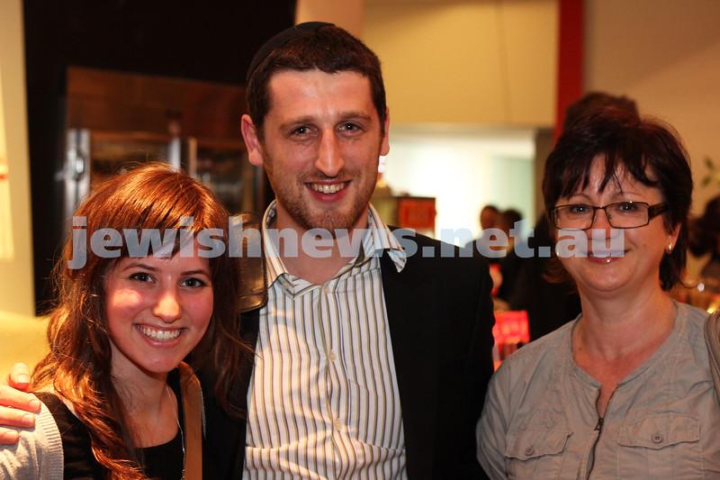 9-11-2011. Jewish Film Festival launch. Deena Lederman, Shmuel Berkawitz, Elizabeth Bagilski. Photo: Lochlan Tangas