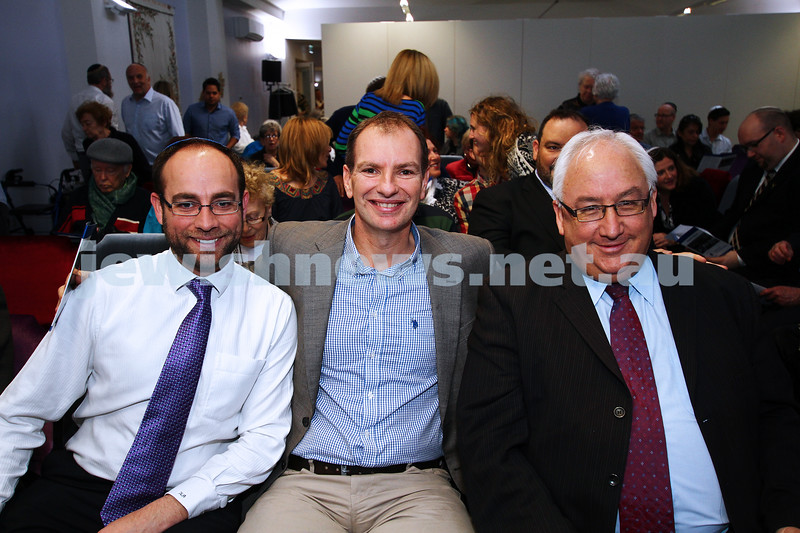 1-9-13. Kehilat Nitzan Concervative (Masorti). New synagogue dedication. From left: Kevin Ekendahl, David Southwick, Michael Danby. Photo: Peter Haskin