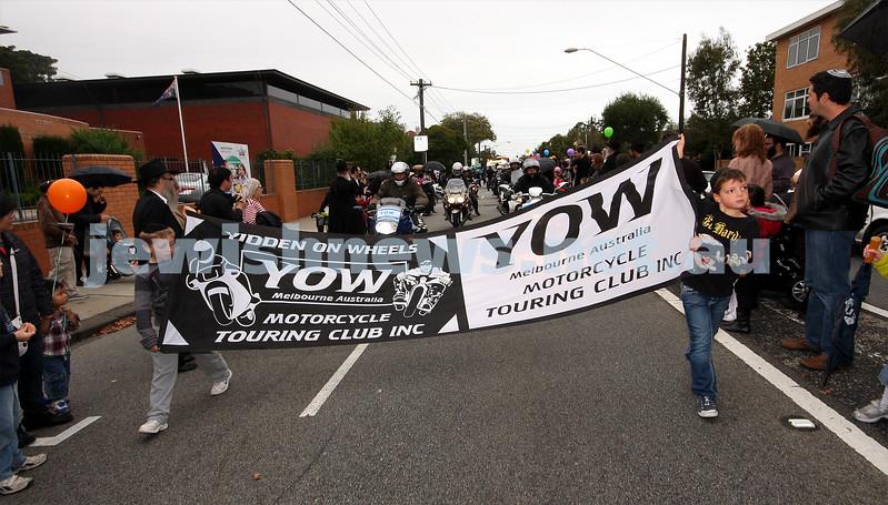 2/5/10. Lag B'omer celebrations, Chabad Youth parade, Hotham Street. YOW. Photo: Peter Haskin