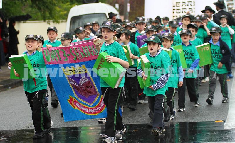 22-5-11. Chabad Youth Lag B'omer Parade 2011. The Unit 3 Shabbas Brigade. Photo: Peter Haskin