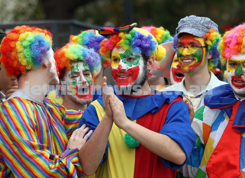 22-5-11. Chabad Youth Lag B'omer Parade 2011. Chabad clowns. Photo: Peter Haskin