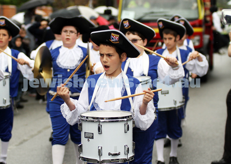 22-5-11. Chabad Youth Lag B'omer Parade 2011. Tzivos Hashem marching band. Photo: Peter Haskin