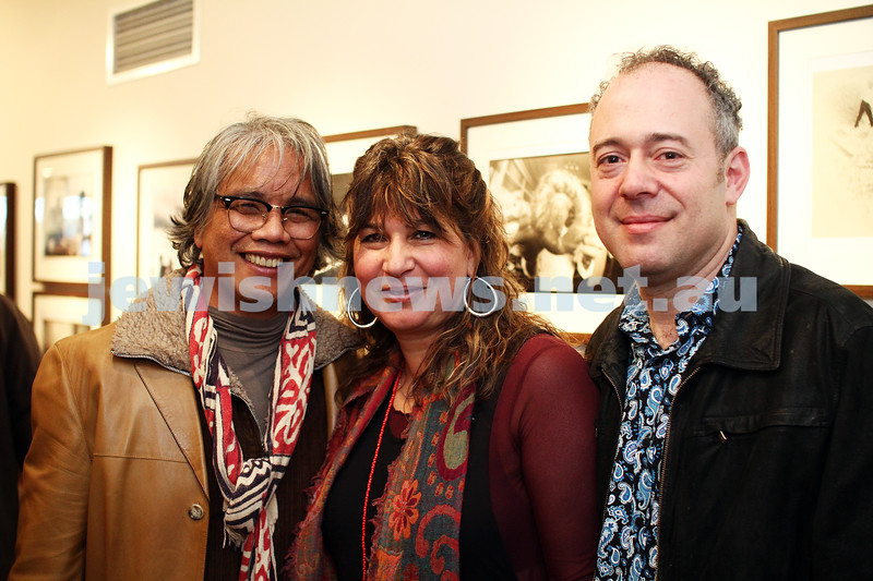 """17-7-11. Opening of the Lex Mrocki """"Seen and Unseen"""" photographic exhibtion at Melbourne's Jewish Museum. From left: Emmanuel Santos, Freydi and Lionel Mrocki. Photo: Peter Haskin"""