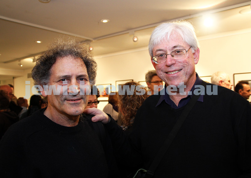 """17-7-11. Opening of the Lex Mrocki """"Seen and Unseen"""" photographic exhibtion at Melbourne's Jewish Museum. Arnold Zable (left), Les Segal. Photo: Peter Haskin"""