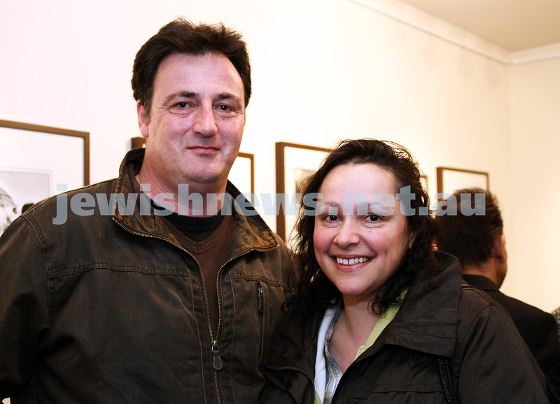 """17-7-11. Opening of the Lex Mrocki """"Seen and Unseen"""" photographic exhibtion at Melbourne's Jewish Museum. Nigel Clements, Elizabeth Liddle. Photo: Peter Haskin"""