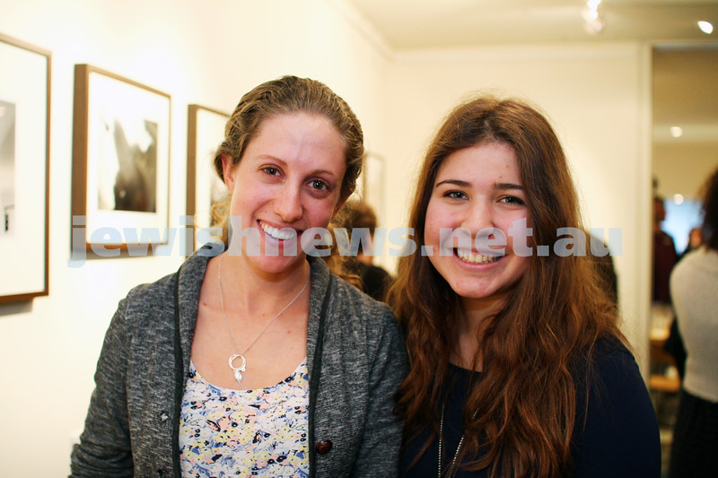 """17-7-11. Opening of the Lex Mrocki """"Seen and Unseen"""" photographic exhibtion at Melbourne's Jewish Museum. Samantha Loff (left), Elisha Segal. Photo: Peter Haskin"""