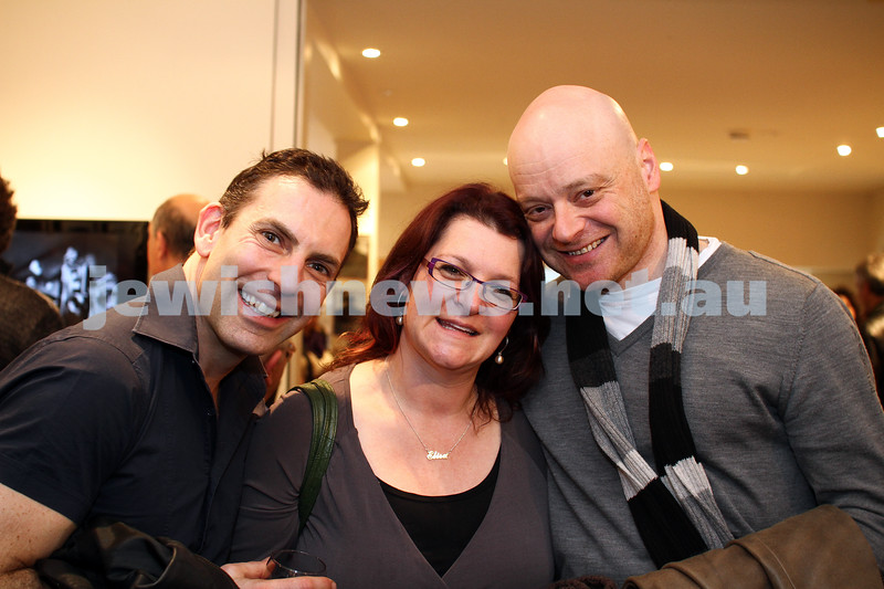 """17-7-11. Opening of the Lex Mrocki """"Seen and Unseen"""" photographic exhibtion at Melbourne's Jewish Museum. From left: ???, Elisa , Sam Schwartz. Photo: Peter Haskin"""
