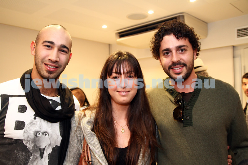 """17-7-11. Opening of the Lex Mrocki """"Seen and Unseen"""" photographic exhibtion at Melbourne's Jewish Museum. From left: Joel Swersky, Rotem Gam, Elliot Goldstone. Photo: Peter Haskin"""