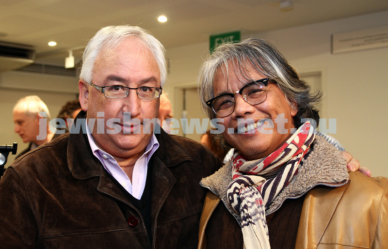 """17-7-11. Opening of the Lex Mrocki """"Seen and Unseen"""" photographic exhibtion at Melbourne's Jewish Museum. Michael Dandy (left), Emmanuel Santos. Photo: Peter Haskin"""