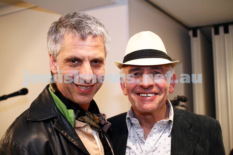 "17-7-11. Opening of the Lex Mrocki ""Seen and Unseen"" photographic exhibtion at Melbourne's Jewish Museum. Tony Fink (left), Henry Greener. Photo: Peter Haskin"