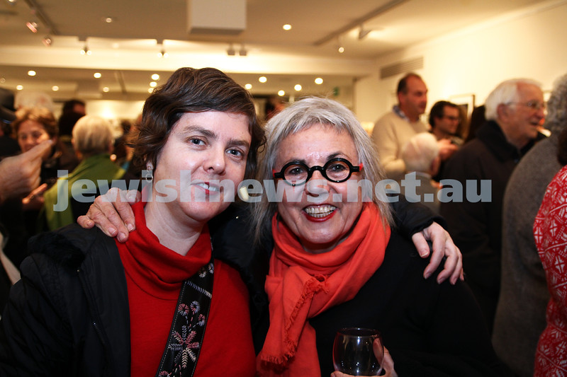 """17-7-11. Opening of the Lex Mrocki """"Seen and Unseen"""" photographic exhibtion at Melbourne's Jewish Museum. Keely Macarow (left), Shoshannah Jordan.  Photo: Peter Haskin"""