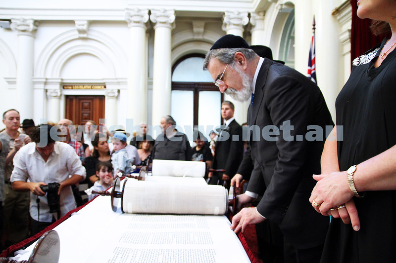 29-1-12. East Melbourne Hebrew Congregation. Double Torah dedication at Queens Hall, Parliament House, Victoria with Chief Rabbi Lord Jonathan Sacks in attendance. Photo: Peter Haskin.