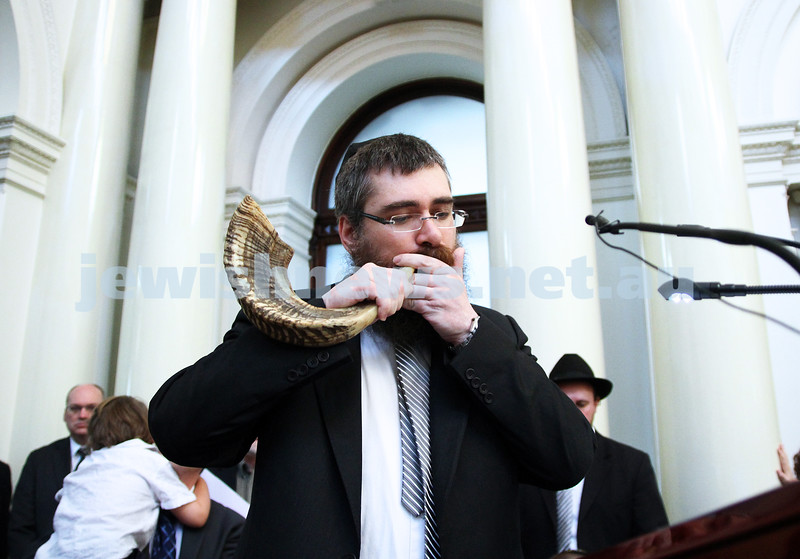 29-1-12. East Melbourne Hebrew Congregation. Double Torah dedication at Queens Hall, Parliament House, Victoria with Chief Rabbi Lord Jonathan Sacks in attendance. Rabbi Avraham Jacks blowing the shofar. Photo: Peter Haskin.