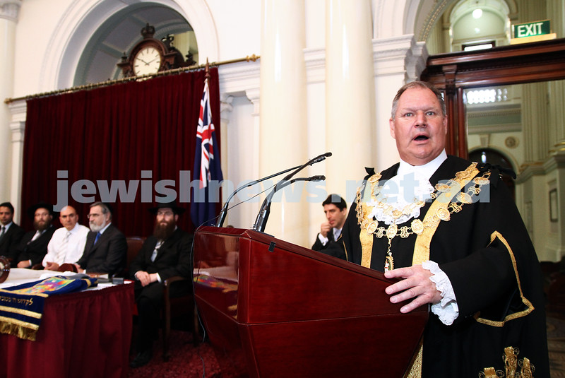 29-1-12. East Melbourne Hebrew Congregation. Double Torah dedication at Queens Hall, Parliament House, Victoria with Cheif Rabbi Lord Jonathan Sacks in attendance.  Melbourne Lord mayor Robert Doyle.  Photo: Peter Haskin.