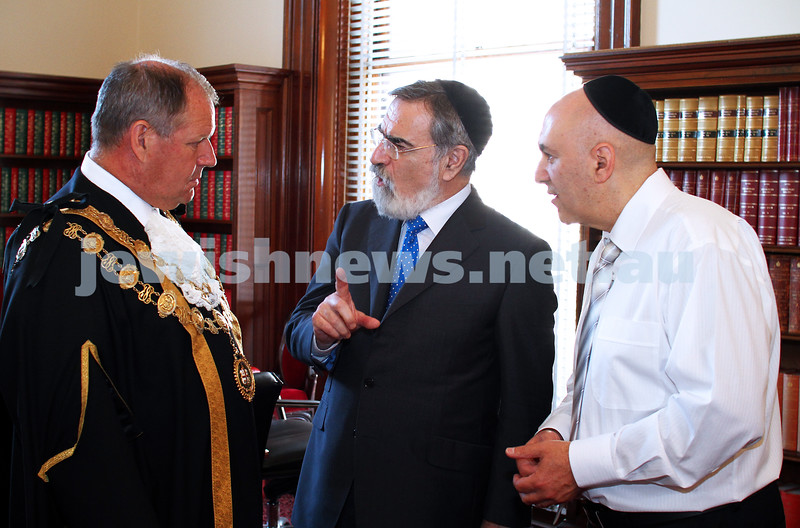 29-1-12. East Melbourne Hebrew Congregation. Double Torah dedication at Queens Hall, Parliament House, Victoria with Cheif Rabbi Lord Jonathan Sacks in attendance.  With Melbourne Lord Mayor Robert Doyle (left), and EMHC President Danny Segal. Photo: Peter Haskin.