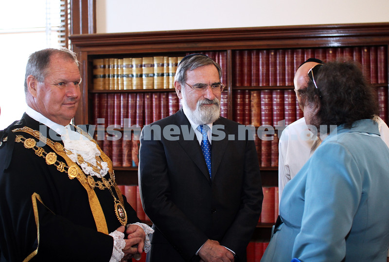 29-1-12. East Melbourne Hebrew Congregation. Double Torah dedication at Queens Hall, Parliament House, Victoria with Cheif Rabbi Lord Jonathan Sacks in attendance.  With Lord Mayor Robert Doyle. Photo: Peter Haskin.